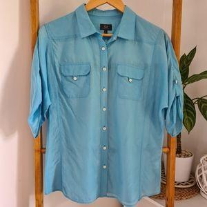 Sportscraft Cotton Silk Button Down Blue Shirt